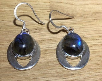 Handmade Dark Labradorite Drop Earrings, Sterling Silver