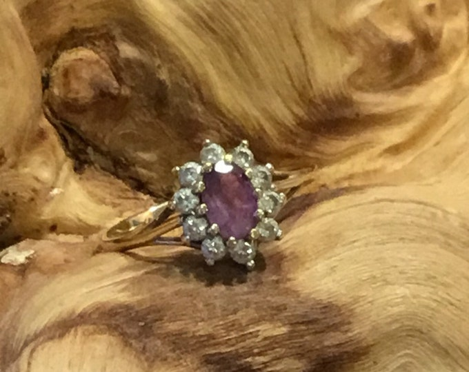 9ct Amethyst and Cz Ring, Cluster