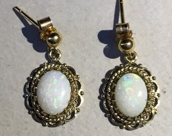 9ct Classical Opal Drop Earrings