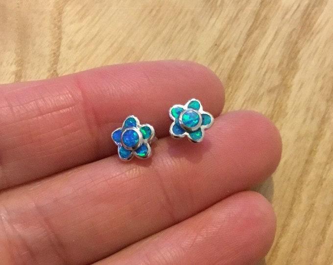 Sterling Silver Opal Daisy Stud Earrings