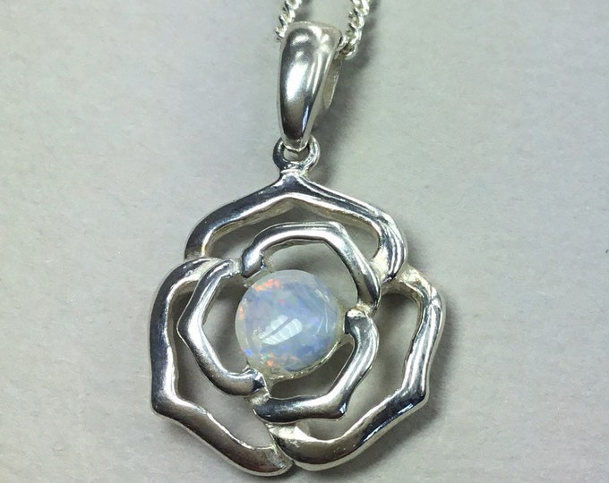 Silver and Opal Rose Pendant With Chain