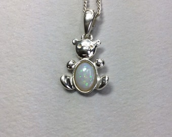 Sterling Silver Opal Teddy Pendant and Chain