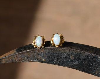 Dainty 9ct Gold Opal Stud Earrings, Australian Opal