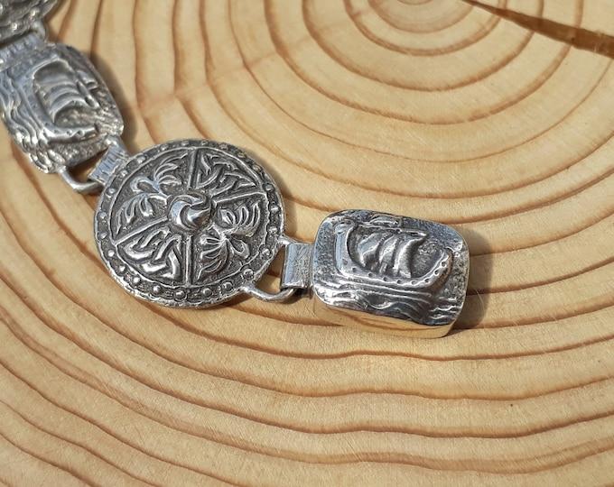 Iona Sterling Silver Viking Ship and Shield Bracelet, Joseph Cook & Son, Scottish