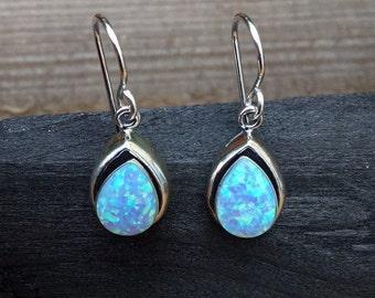 Silver Opal Earrings, Teardrop, Drop Earrings