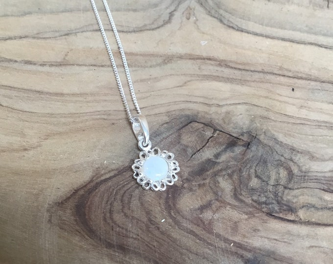 Sterling Silver Opal Pendant and Chain