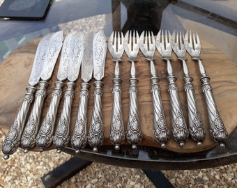 Julius Lemor '800' Silver Fish Knives and Forks, 6 Place Settings, Antique Silver