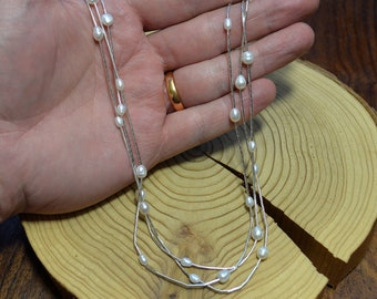 Layered Liquid Silver and Pearl Necklace