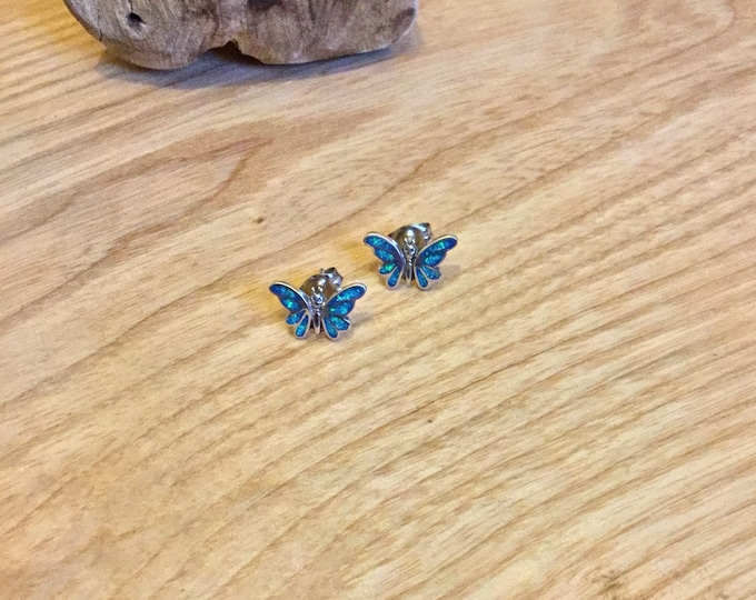 Sterling Silver Lab Opal Butterfly Stud Earrings