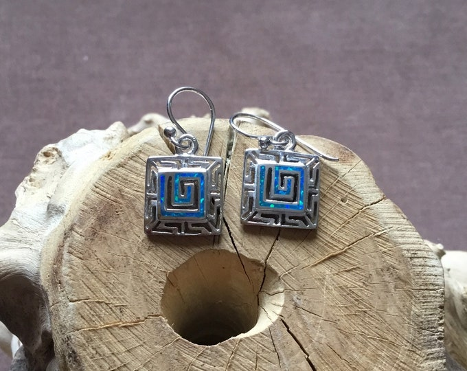 Sterling Silver Lab Opal Drop Earrings, Greek Key Design
