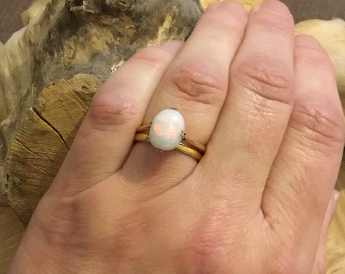 9ct Opal Ring, Antique Rose Gold