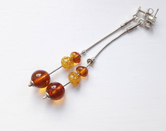 Sterling Silver and Baltic Amber Drop Earrings, Handmade