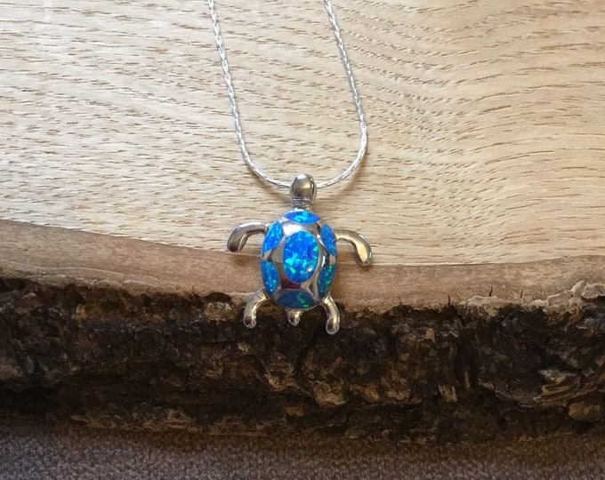 Sterling Silver Opal Turtle Pendant and Chain