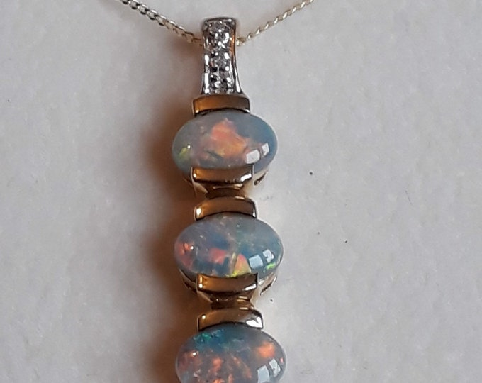 9ct Black Opal and Diamond Pendant With Chain, Solid Opals.