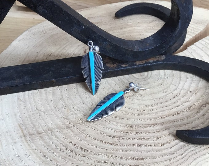 Sterling Silver Turquoise Earrings, Feathers