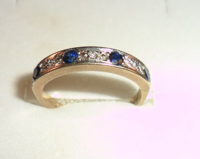 9ct Sapphire and Diamond Half Eternity Ring