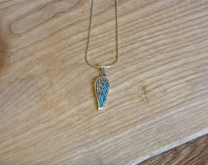 Sterling Silver Opal Pendant and Chain, Angel Wing