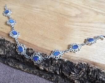 Silver Filigree Boulder Opal Bracelet