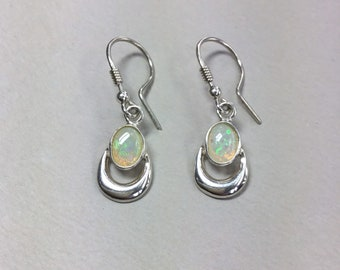 Silver Opal Earrings, Sterling Silver With Natural Coober Pedy Opal Drops