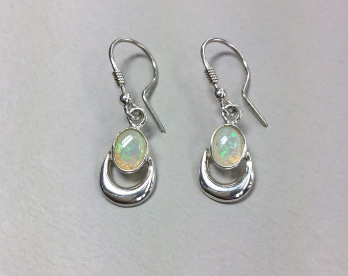 Sterling Silver Opal Earrings, Natural Opal