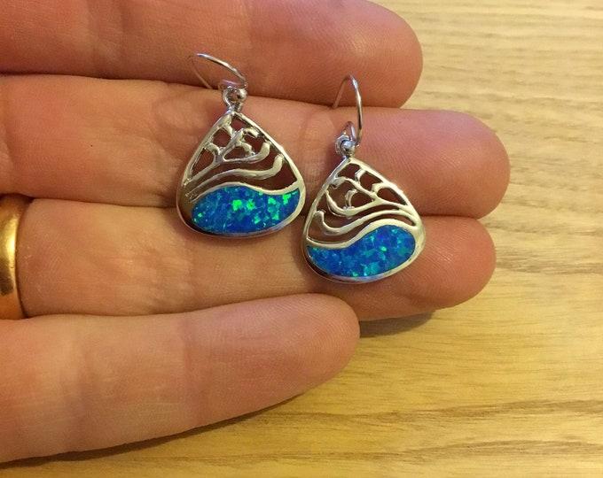 Sterling Silver Opal Earrings, Blue