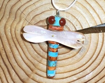 Handmade Turquoise and Coral Dragonfly Fetish Pendant