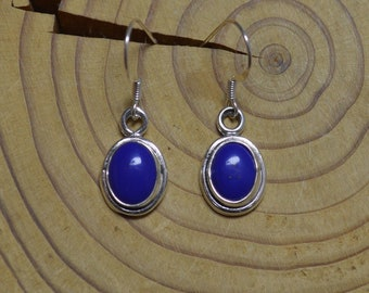 Silver Lapis Lazuli Oval Earrings