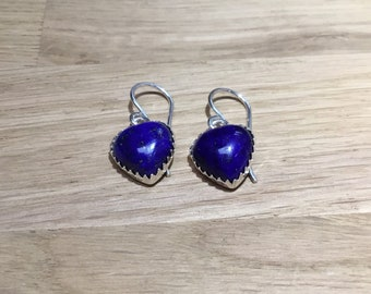 Lapis Lazuli Silver Heart Drop Earrings