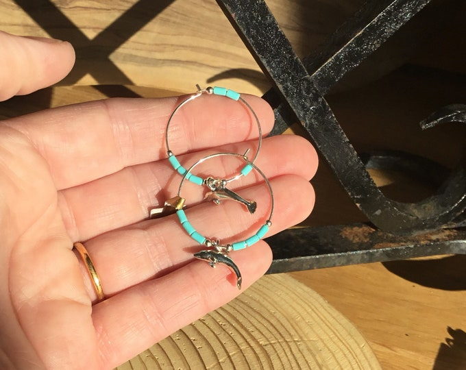 Sterling Silver and Navajo Turquoise Dolphin Earrings, Hoops