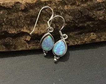 Sterling Silver Opal Drop Earrings