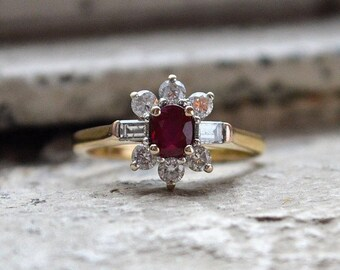 18ct Ruby and Diamond Cluster Ring, Burmese Ruby and Diamond Engagement Ring
