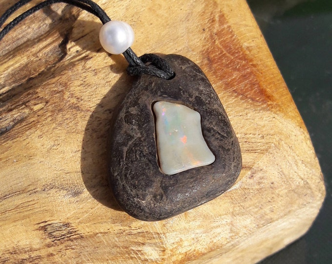 Handmade Opal, Jet and South Sea Pearl Pendant, Preservation Collection