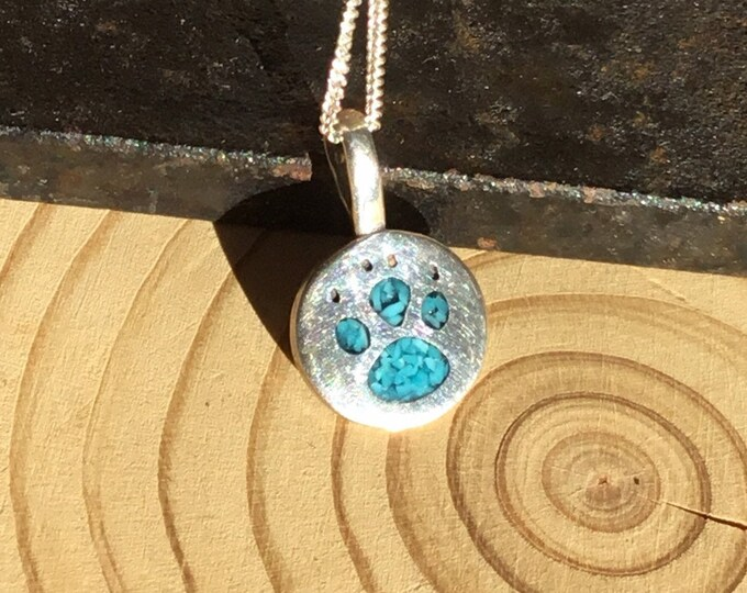 Silver Turquoise Paw Pendant