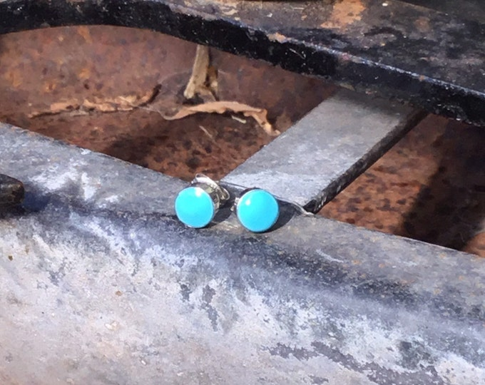Sterling Silver Turquoise Stud Earrings, Round