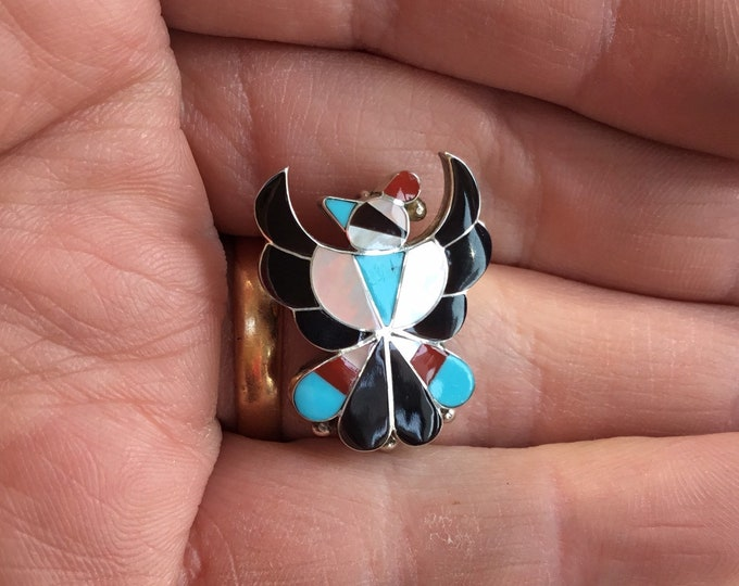 Navajo Zuni Turquoise, Mother of Pearl, Onyx and Coral Brooch/Pendant, Signed Wallace