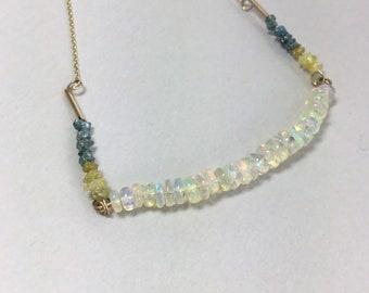 9ct Opal and Diamond Necklace, Welo Opal Diamond Necklace, Yellow Diamonds, Blue Diamonds