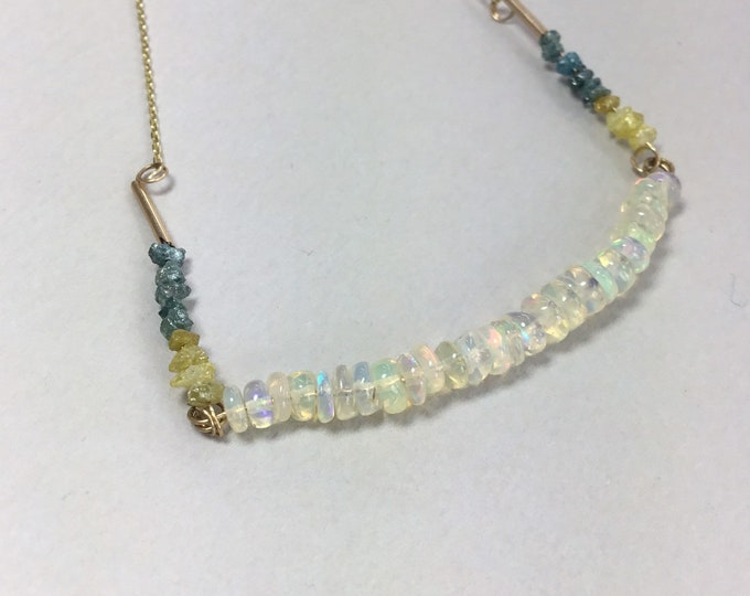 9ct Opal and Diamond Necklace, Welo Opal Diamond Necklace, Yellow Diamonds, Blue Diamonds