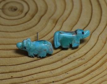 Kingman Turquoise Wolf Fetish Earrings