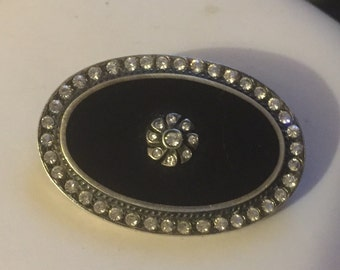 Vintage Onyx and Silver Brooch