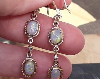 9ct Opal Earrings, Natural Australian Opal, Opal and Diamond Earrings