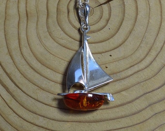 Silver and Amber Nautical Pendant