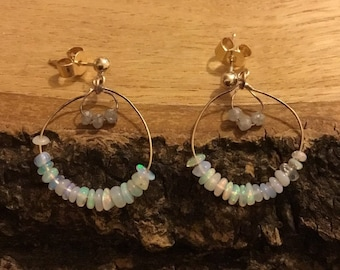 9ct Opal and Diamond Earrings, Unique Opal