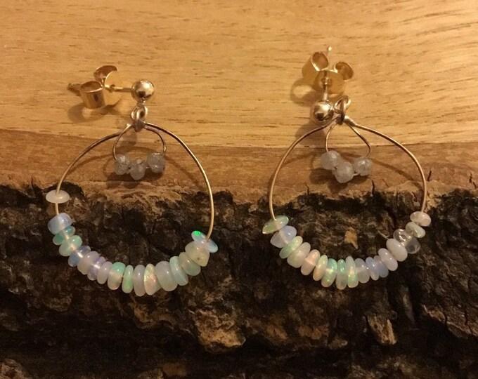 9ct Opal and Diamond Earrings, Unique Opal