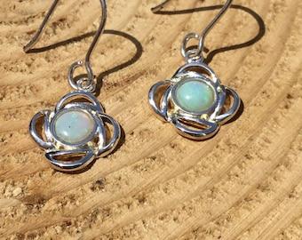 Sterling Silver Opal Earrings, Natural Opal