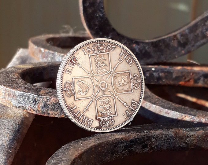 1887, Silver Double Florin, British Coin
