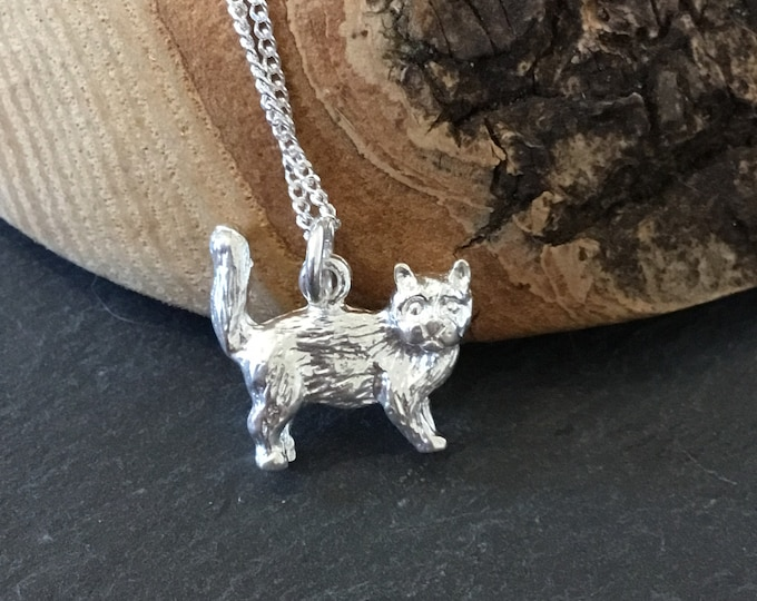 Sterling Silver Moggie Cat Pendant and Chain