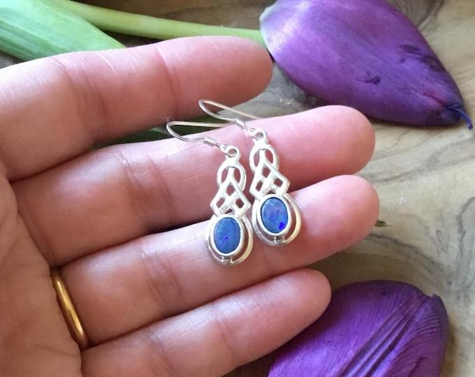 Sterling Silver Opal Celtic Earrings, Drops