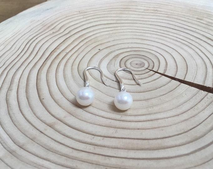 Sterling Silver Fresh Water Pearl Drop Earrings