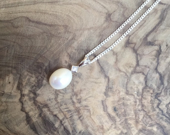 Sterling Silver Pearl Pendant and Chain With CZ Accent