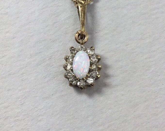 9ct Opal and Diamond Pendant, Opal and Diamond, Gold Opal Pendant